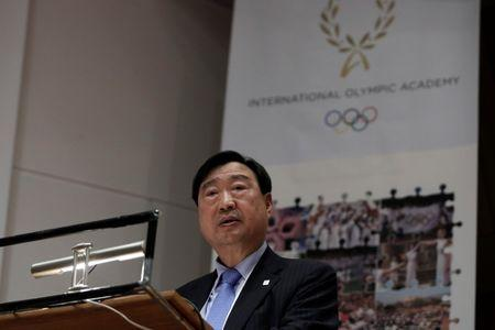 Olympics - Dress Rehearsal - Lighting Ceremony of the Olympic Flame Pyeongchang 2018 - Ancient Olympia, Olympia, Greece - October 23, 2017. Lee Hee-beom, president and CEO of the Pyeongchang Organizing Committee for the 2018 Winter Olympic Games, speaks during a news conference following the dress rehearsal for the Olympic flame lighting ceremony at the site of ancient Olympia in Greece. REUTERS/Costas Baltas