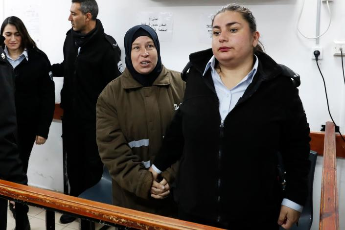 Nariman Tamimi, second from right, arrives for a hearing in the military court at Ofer Prison, Jan.1, 2018. (Photo: Ahmad Gharabli/AFP/Getty)