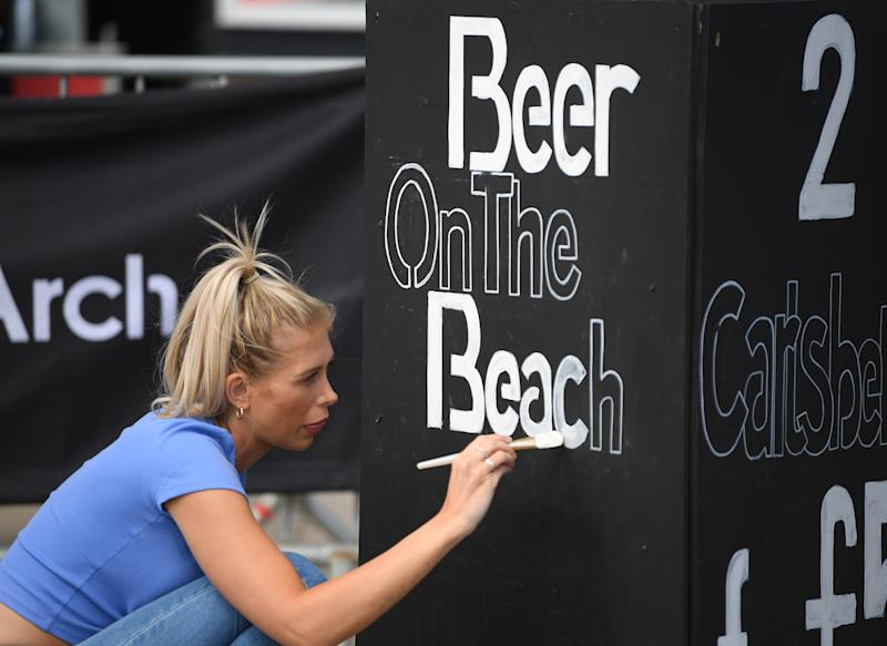 Signwriting in Brighton as coronavirus restrictions are eased