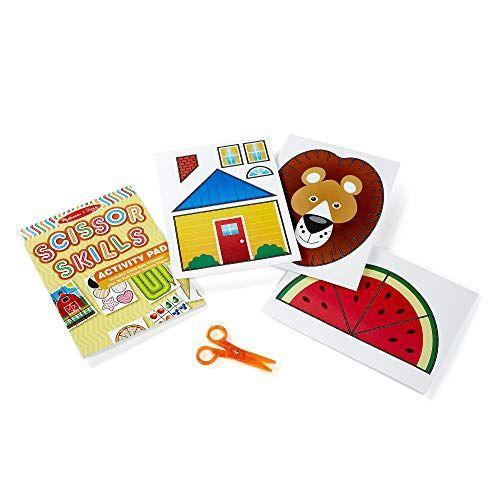 """<p><strong>Melissa & Doug</strong></p><p>amazon.com</p><p><strong>$4.99</strong></p><p><a href=""""https://www.amazon.com/dp/B00EJAEUBC?tag=syn-yahoo-20&ascsubtag=%5Bartid%7C10055.g.26859132%5Bsrc%7Cyahoo-us"""" rel=""""nofollow noopener"""" target=""""_blank"""" data-ylk=""""slk:Shop Now"""" class=""""link rapid-noclick-resp"""">Shop Now</a></p><p>This toy is all about <strong>teaching fine motor skills</strong>. It also layers in cognitive development with activities like sequencing, mazes, animal art, and more. The book progresses from simple to more complex activities as your child's skills advance. <em>Ages 4+</em></p>"""