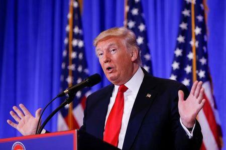U.S. President-elect Donald Trump speaks at a conference in New York