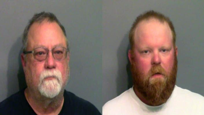 Gregory McMichael, 64, and his son Travis McMichael, 34, were each charged with murder and aggravated assault in the shooting death of Ahmaud Arbery, a 25-year-old black man. (Photo by Glynn County Sheriff's Office via Getty Images)