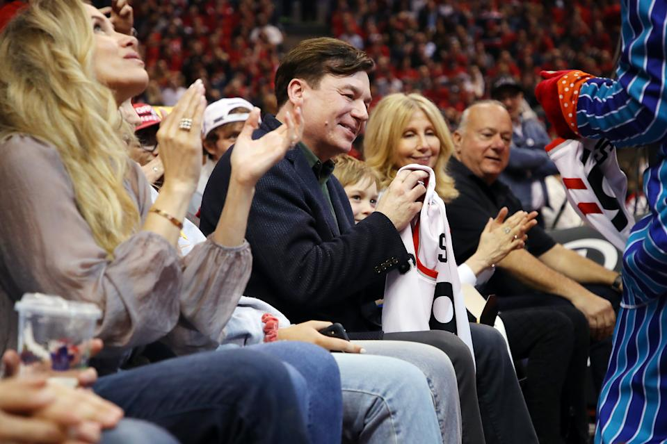 Actor Mike Myers attends game three of the NBA Eastern Conference Finals between the Milwaukee Bucks and the Toronto Raptors at Scotiabank Arena on May 19, 2019 in Toronto, Canada. (Photo by Gregory Shamus/Getty Images)