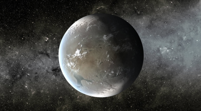 <p>Kepler-62 f orbits Kepler 62, approximately 1,200 light-years away from Earth. Recent research has led astronomers to believe that the exoplanet may be a water world, just like Earth. It's about 1.4 times larger than Earth. </p>
