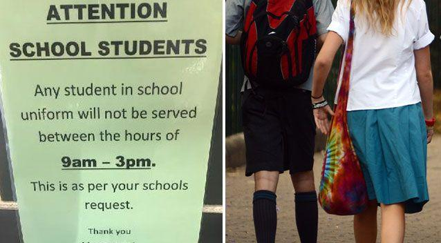The sign (left) is meant to stop students in the area from going into the restaurant during school hours: Source: Supplied/ AAP