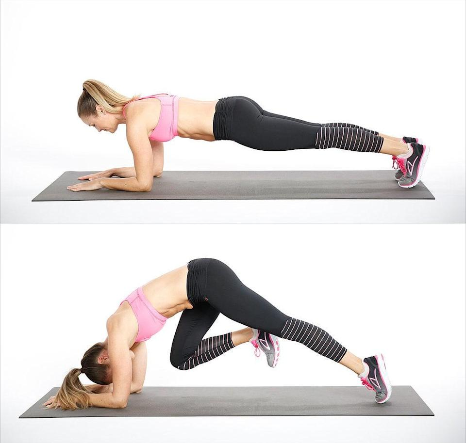 <ul> <li>Start in an elbow plank and bring your right knee into your nose; your pelvis will rise toward the ceiling. Place your right foot back on the ground.</li> <li>Alternate sides, bringing your left knee in. </li> <li>This counts as one rep.</li> </ul>
