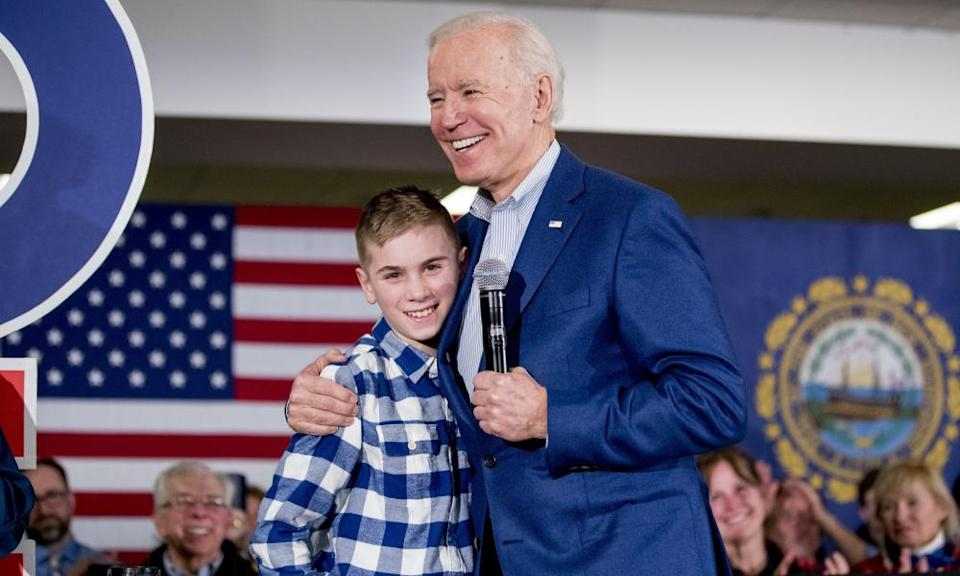 Joe Biden and Brayden Harrington, pictured in February 2020.