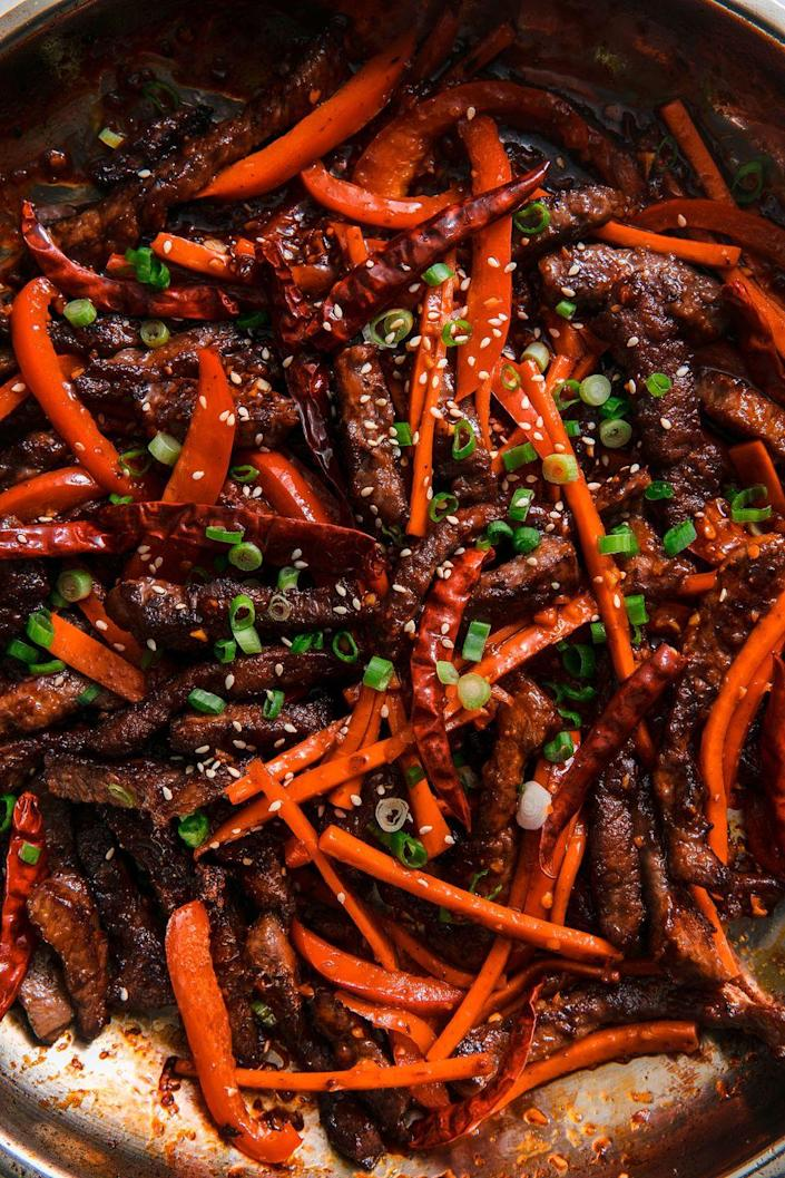 "<p>Spicy AF. </p><p>Get the recipe from <a href=""https://www.delish.com/cooking/recipe-ideas/a22024047/best-szechuan-beef-recipe/"" rel=""nofollow noopener"" target=""_blank"" data-ylk=""slk:Delish."" class=""link rapid-noclick-resp"">Delish. </a> </p>"