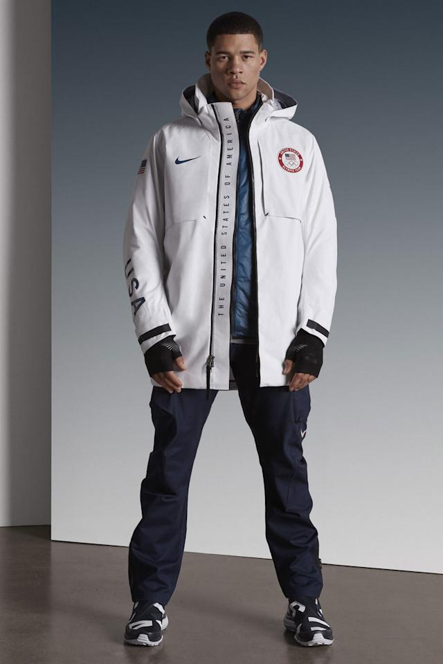 <p>A model displays the the male U.S. Olympic medal stand uniform designed by Nike. (Photo: courtesy of Nike) </p>