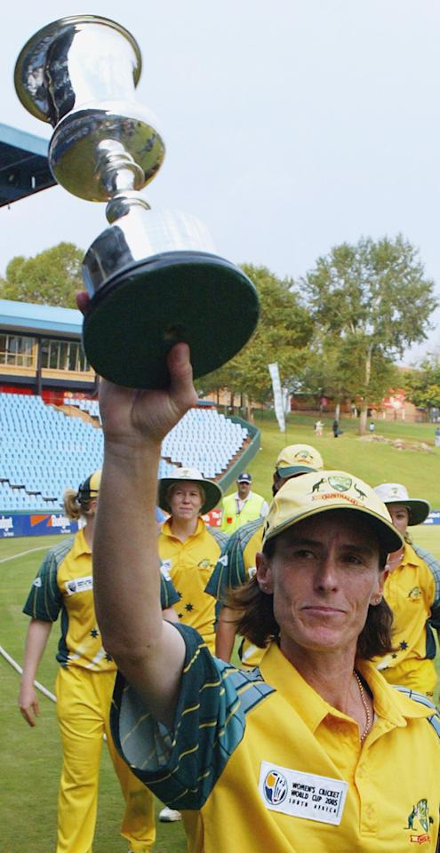 PRETORIA, SOUTH AFRICA - APRIL 10: (TOUCHLINE IMAGES ARE AVAILABLE TO CLIENTS IN THE UK, USA AND AUSTRALIA ONLY)  Belinda Clark of Australia holds the World Cup trophy after the IWCC Women's World Cup Final match between India and Australia at Supersport Park Stadium on April 10, 2005 in Pretoria, South Africa. (Photo by Touchline/Getty Images)