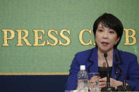 Sanae Takaichi, former internal affairs minister, one of the four candidates for the presidential election of the ruling Liberal Democratic Party speaks during a debate session hosted by the Japan National Press club Saturday, Sept. 18, 2021 in Tokyo. The other contenders are Taro Kono, the cabinet minister in charge of vaccinations, Fumio Kishida, former foreign minister and Seiko Noda, former internal affairs minister. (AP Photo/Eugene Hoshiko, Pool)