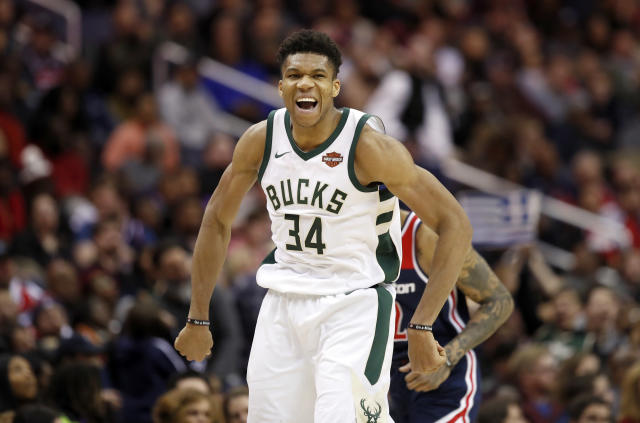 Giannis Antetokounmpo pulled off yet another amazing play Tuesday night. (AP Photo)