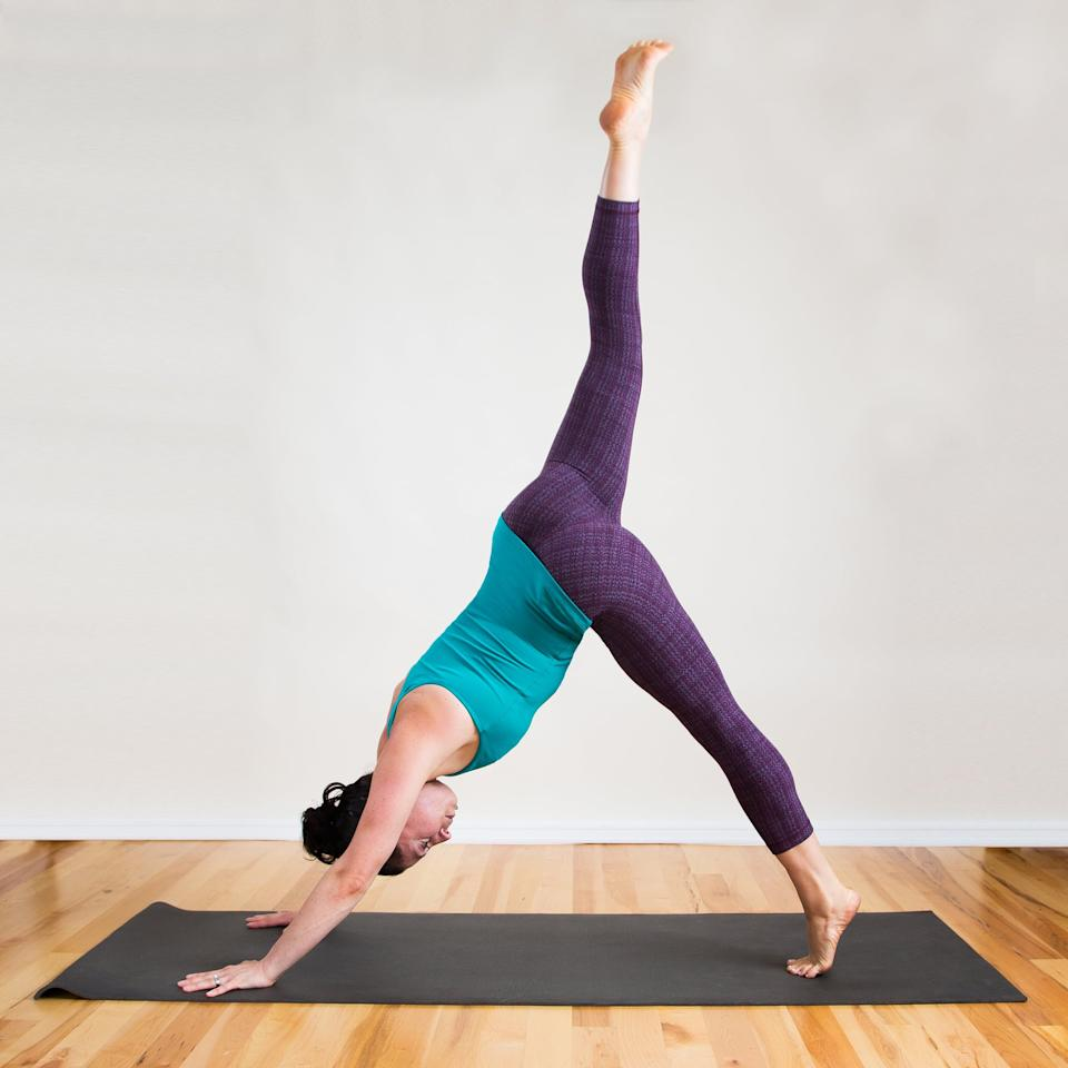 <ul> <li>From Downward Dog, step your feet together so your big toes are touching, and raise your right leg into the air, rising up onto your left toes.</li> <li>Hold for five breaths, then repeat on the other side.</li> </ul>