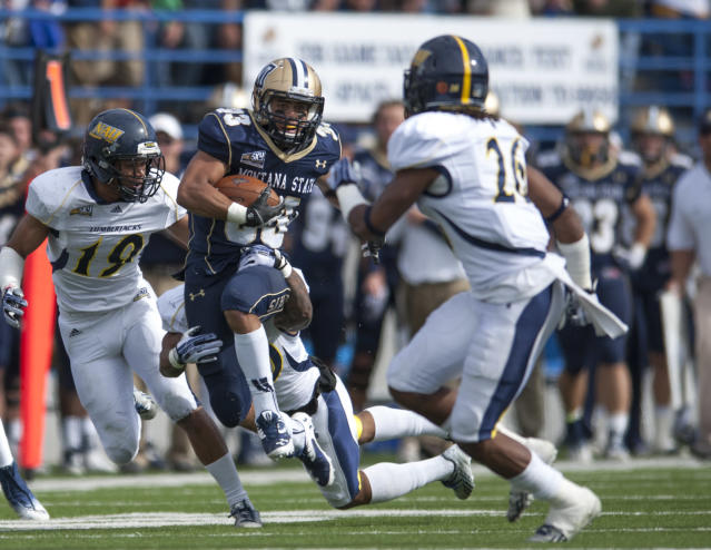 In this photo provided by Montana State University, Montana State running back Shawn Johnson breaks through Northern Arizona defenses in the second quarter of an NCAA college football game Saturday, Oct. 5, 2013 in Bozeman, Mont. (AP Photo/Montana State University, Kelly Gorham)