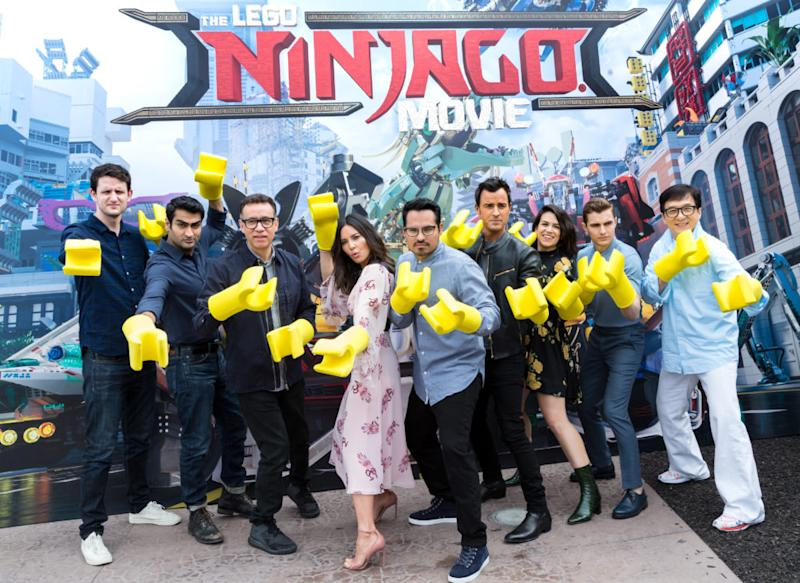 "cast of ""The Lego Ninjago Movie"" was humbled to receive their Lego ..."