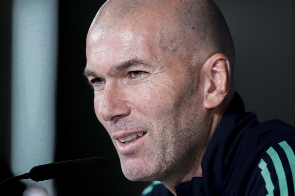 MADRID, SPAIN - NOVEMBER 25: coach Zinedine Zidane of Real Madrid during the   Training Real Madrid at the Ciudad Deportiva Valdebebas  on November 25, 2019 in Madrid Spain (Photo by David S. Bustamante/Soccrates/Getty Images)