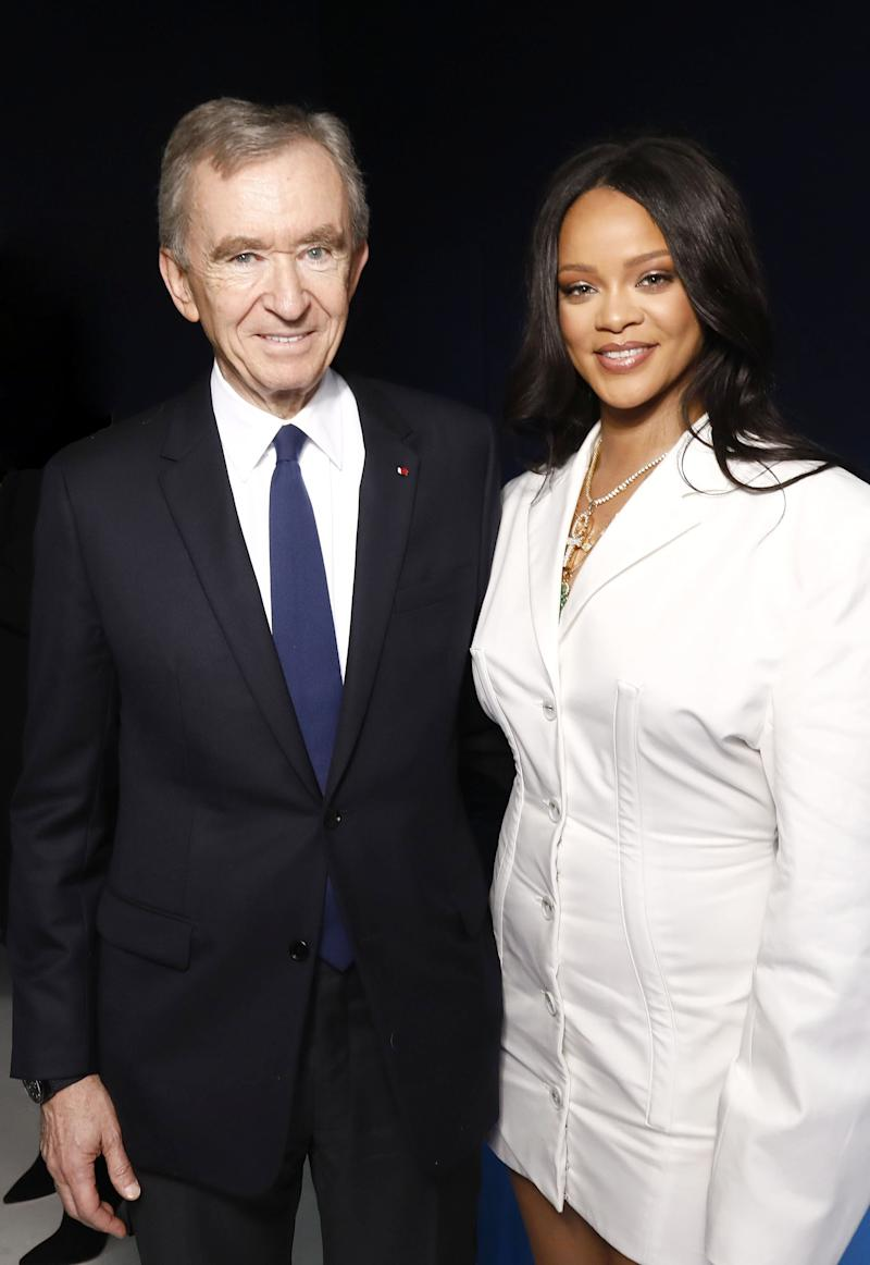 PARIS, FRANCE - MAY 22: Bernard Arnault and Rihanna attend Fenty Launch on May 22, 2019 in Paris, France. (Photo by Julien Hekimian/Getty Images for Fenty)