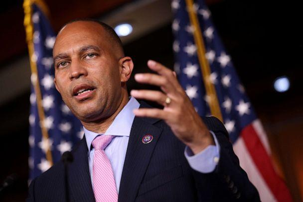 PHOTO: Democratic Caucus Chairman Hakeem Jeffries speaks at a news conference following a caucus meeting at the Capitol, Sept. 21, 2021. (Kevin Dietsch/Getty Images)