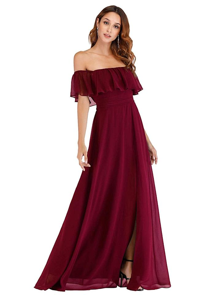 """<p>This <a href=""""https://www.popsugar.com/buy/Ever-Pretty-Off--Shoulder-Dress-556079?p_name=Ever-Pretty%20Off-the-Shoulder%20Dress&retailer=amazon.com&pid=556079&price=50&evar1=fab%3Aus&evar9=47299789&evar98=https%3A%2F%2Fwww.popsugar.com%2Ffashion%2Fphoto-gallery%2F47299789%2Fimage%2F47300344%2FEver-Pretty-Off--Shoulder-Dress&list1=shopping%2Cdresses%2Cprom%2Cprom%20dresses%2Cgowns&prop13=mobile&pdata=1"""" rel=""""nofollow"""" data-shoppable-link=""""1"""" target=""""_blank"""" class=""""ga-track"""" data-ga-category=""""Related"""" data-ga-label=""""https://www.amazon.com/Ever-Pretty-Womens-Summer-Shoulder-Burgundy/dp/B07QXH3V49/ref=sr_1_47?crid=10NCVYD8NREV4&amp;dchild=1&amp;keywords=prom+dresses&amp;qid=1583952108&amp;sprefix=prom+dr%2Caps%2C217&amp;sr=8-47"""" data-ga-action=""""In-Line Links"""">Ever-Pretty Off-the-Shoulder Dress</a> ($50) comes in tons of colors.</p>"""