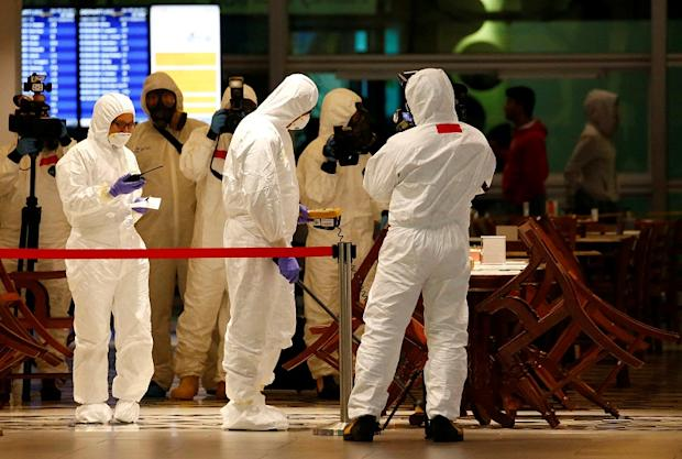 A Hazmat team conducts checks at KLIA2 airport terminal in Sepang February 26, 2017. — Reuters pic