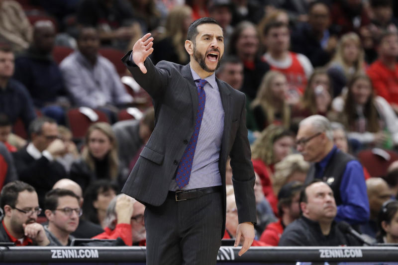 Charlotte Hornets coach James Borrego calls his team during the first half of an NBA basketball game against the Chicago Bulls in Chicago, Thursday, Feb. 20, 2020. (AP Photo/Nam Y. Huh)