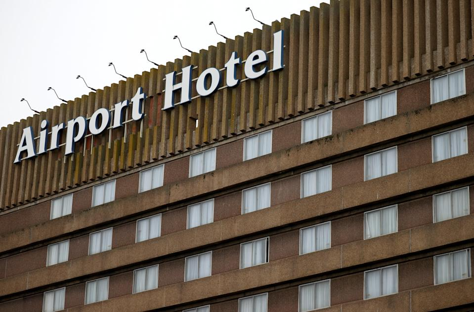 Signage is seen on a hotel near Manchester Airport (REUTERS)