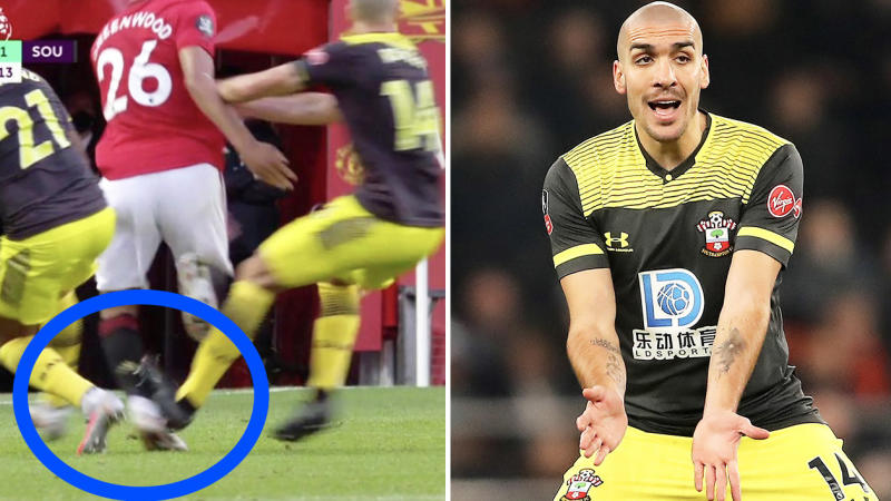 Oriol Romeu (pictured right) gesturing for the ball and (pictured left) making a horror challenge on Manchester United's Mason Greenwood.