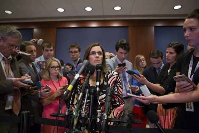 Rep. Martha McSally, R-Ariz., speaks to the media after House Majority Whip Steve Scalise was shot. (Photo: Tasos Katopodis/Getty Images)