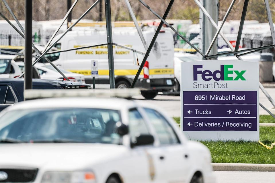Investigators are on the scene following a mass shooting at a FedEx facility in Indianapolis, Friday, April 16, 2021. The shooting took place late Thursday evening at the FedEx Ground Facility near the Indianapolis International Airport.