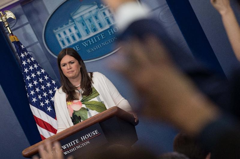 "White House spokeswoman Sarah Huckabee Sanders accused the media of putting ""spin"" on Trump's tweets criticizing London Mayor Sadiq Khan (AFP Photo/NICHOLAS KAMM)"