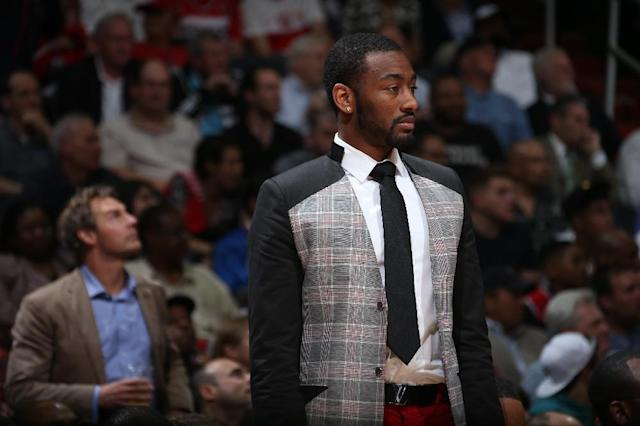 WASHINGTON, DC - MAY 11: John Wall #2 of the Washington Wizards looks on against the Atlanta Hawks in Game Four of the Eastern Conference Semifinals during the 2015 NBA Playoffs on May 11, 2015 at the Verizon Center in Washington, DC. (Photo by Ned Dishman/NBAE via Getty Images)
