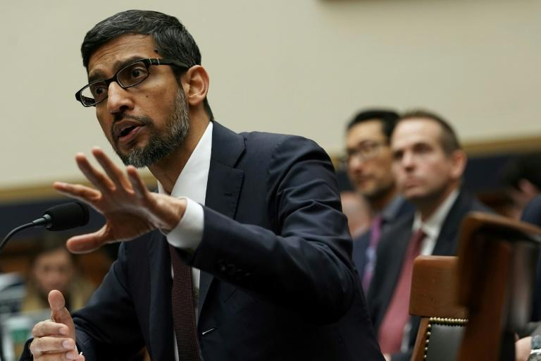Sundar Pichai kept his calm at a December 2018 hearing where he faced intense questioning from US lawmakers (AFP Photo/ALEX WONG)