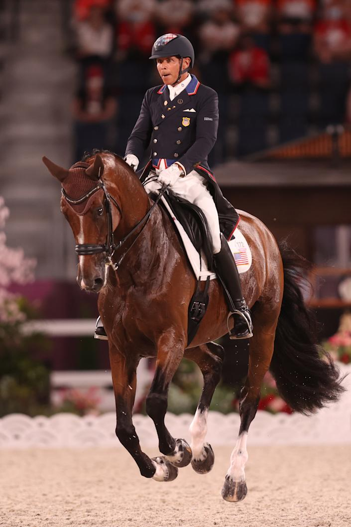 <p>TOKYO, JAPAN - JULY 27: Steffen Peters of Team USA riding Suppenkasper competes in the Dressage Team Grand Prix Special Team Final on day four of the Tokyo 2020 Olympic Games at Equestrian Park on July 27, 2021 in Tokyo, Japan. (Photo by Julian Finney/Getty Images)</p>