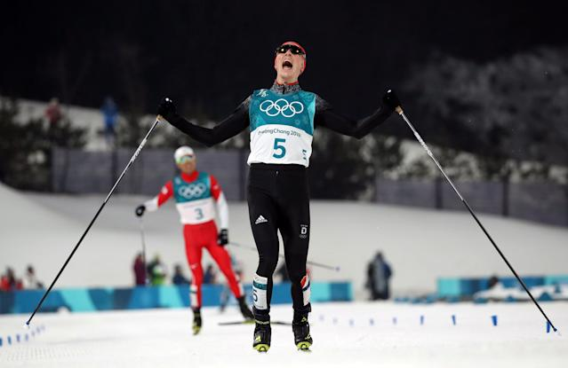 "Nordic Combined Events – Pyeongchang 2018 Winter Olympics – Men's Individual 10km Final – Alpensia Cross-Country Skiing Centre - Pyeongchang, South Korea – February 14, 2018 - Eric Frenzel of Germany celebrates his win. REUTERS/Carlos Barria SEARCH ""OLYMPICS BEST"" FOR ALL PICTURES. TPX IMAGES OF THE DAY."