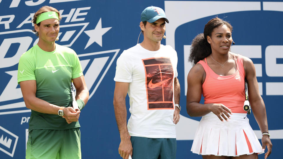 Rafael Nadal, Roger Federer and Serena Williams will take part in the charity event. (Photo by Uri Schanker/FilmMagic)
