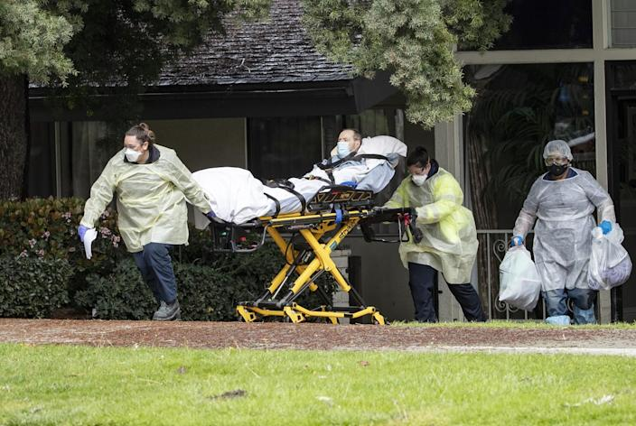 Patients are moved from the Magnolia Rehabilitation and Nursing Center in Riverside.