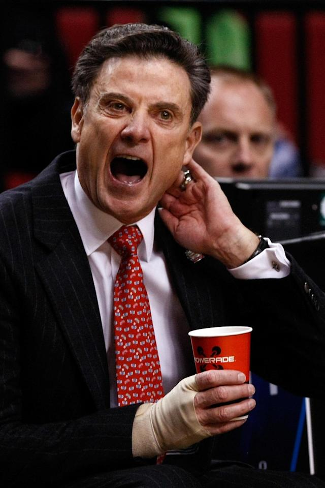PORTLAND, OR - MARCH 15: Head coach Rick Pitino of the Louisville Cardinals reacts in the first half while taking on the Davidson Wildcats in the second round of the 2012 NCAA men's basketball tournament at Rose Garden Arena on March 15, 2012 in Portland, Oregon. (Photo by Jonathan Ferrey/Getty Images)