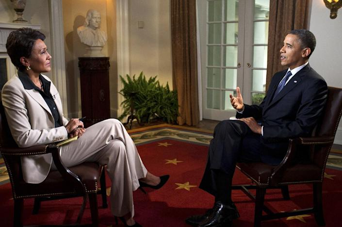 In this photo released by The White House, President Barack Obama participates in an interview with Robin Roberts of ABC's Good Morning America, in the Cabinet Room of the White House, Wednesday, May 9, 2012, in Washington. Obama declared his unequivocal support for gay marriage on Wednesday, a historic announcement that gave the polarizing social issue a more prominent role in the 2012 race for the White House. (AP Photo/The White House, Pete Souza)