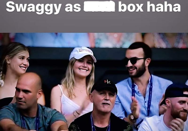 A picture from Nick Kyrgios' Instagram showing Eugenie and Charlotte Boucard in his players' box at Wimbledon 2019.