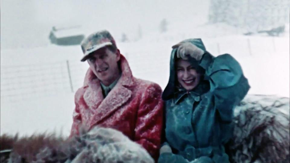The Queen and Prince Philip take a traditional sleigh ride during their Canadian Tour in 1951The Queen Unseen/ITV/Factual Fiction