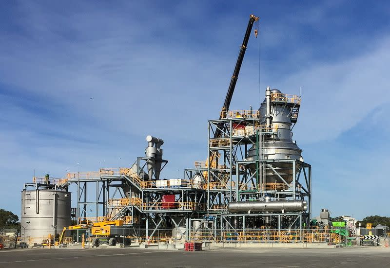 FILE PHOTO: FILE PHOTO: A view of a new nickel sulphate plant that global miner BHP Group is building to service the battery industry at its Nickel West operations, south of Perth