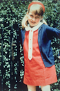 <p>Here's a sweet primary school pic of Diana, wearing a (very patriotic) red, white and blue look with a matching headband.</p>