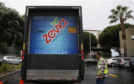 A Zevia truck is seen outside a supermarket in Los Angeles, California, December 18, 2013. REUTERS/Lucy Nicholson