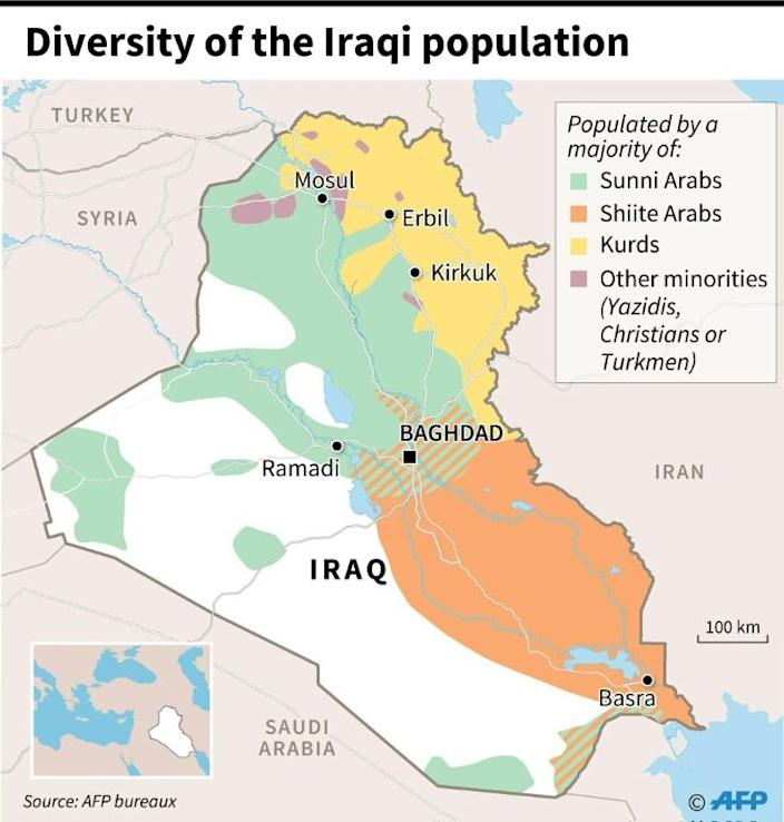 Map showing the different communities in Iraq. (AFP Photo/Thomas SAINT-CRICQ)