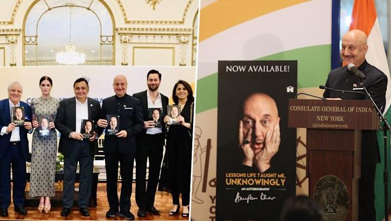 Rishi Kapoor and Wife Neetu Singh Attend Anupam Kher's Book Launch Event in NYC (View Pics)