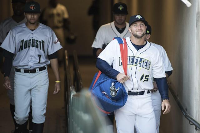 Tim Tebow is not preventing some future star from staying in the Mets organization. (AP Images)