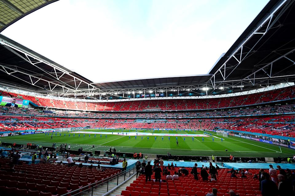 General view of the ground prior to kick-off during the UEFA Euro 2020 Group D match at Wembley Stadium, London. Picture date: Tuesday June 22, 2021.