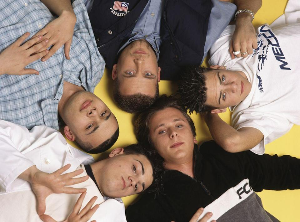 """<p>The British boy band 5ive came up right as we hit Peak Boy Band in the late 1990s. Though much, <em>much</em> bigger in England (which seemed more susceptible to Boy Band Fever than the U.S. was), their stateside hits included the hilariously-named """"Slam Dunk (Da Funk)"""" and still-catchy """"When The Lights Go Out."""" </p>"""