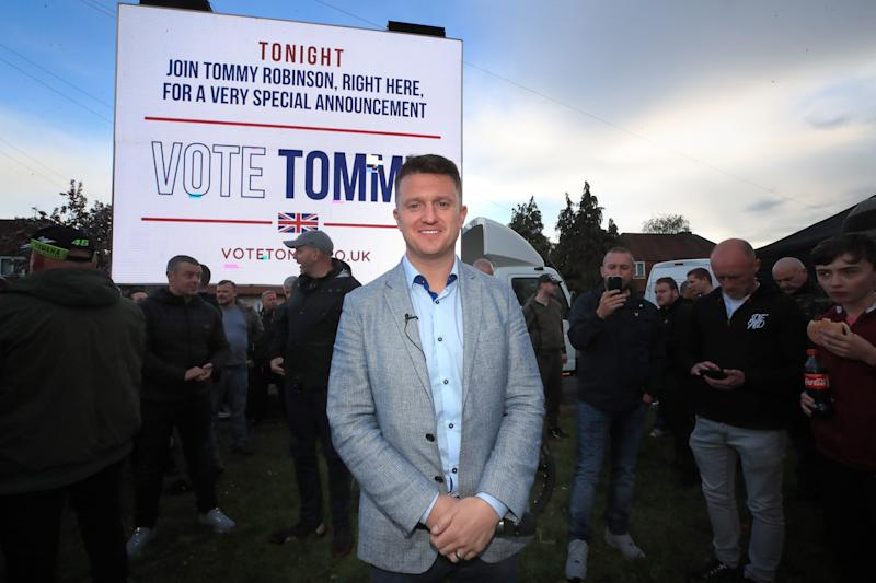 Former English Defence League leader Tommy Robinson at a barbecue and rally in Manchester, he has announced he will stand in the forthcoming European elections.
