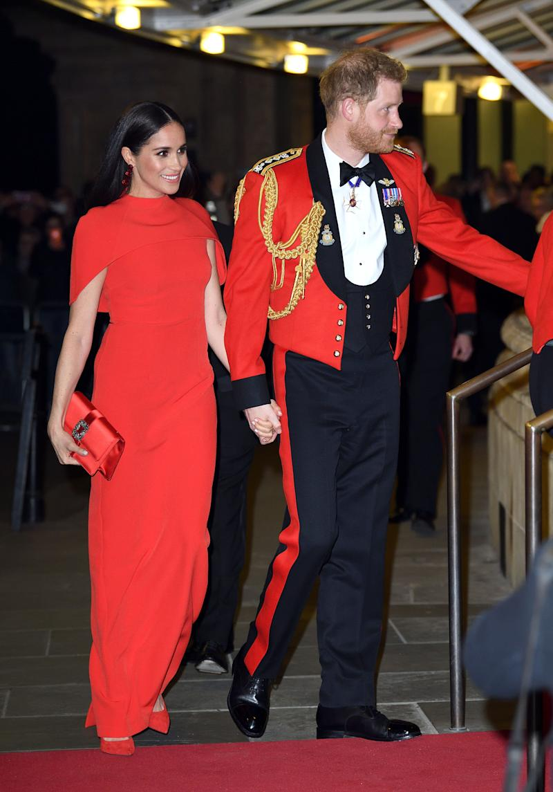The Duke and Duchess of Sussex attend the Mountbatten Festival of Music at Royal Albert Hall on March 7 in London. (Photo: Karwai Tang via Getty Images)